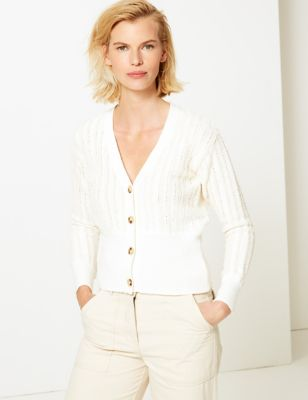 M&S Collection Cotton Rich Textured V-Neck Cardigan