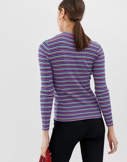 Pieces stripe rib lightweight jumper