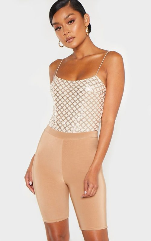 Rose Gold Strappy Sequin Straight Neck Bodysuit, Pink