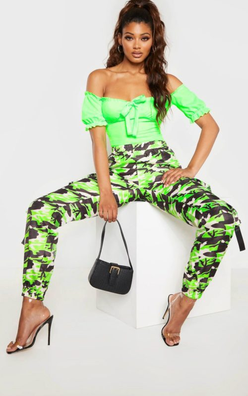 Tall Neon Lime Bardot Bow Detail Frill Trim Bodysuit, Neon Lime