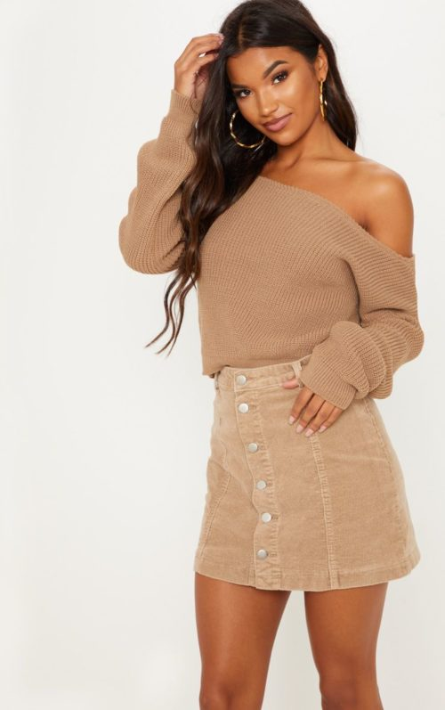 Taupe Off The Shoulder Knitted Crop Jumper, Brown