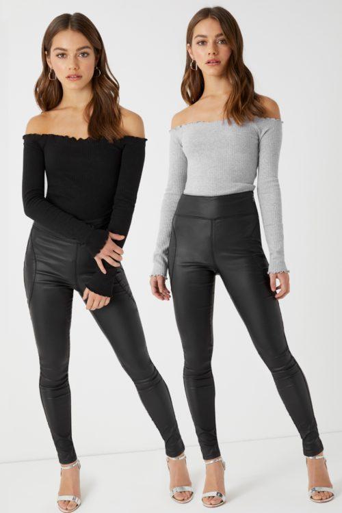 Womens Missguided Lettuce Hem Bardot Bodysuit - Pack Of 2 - Black