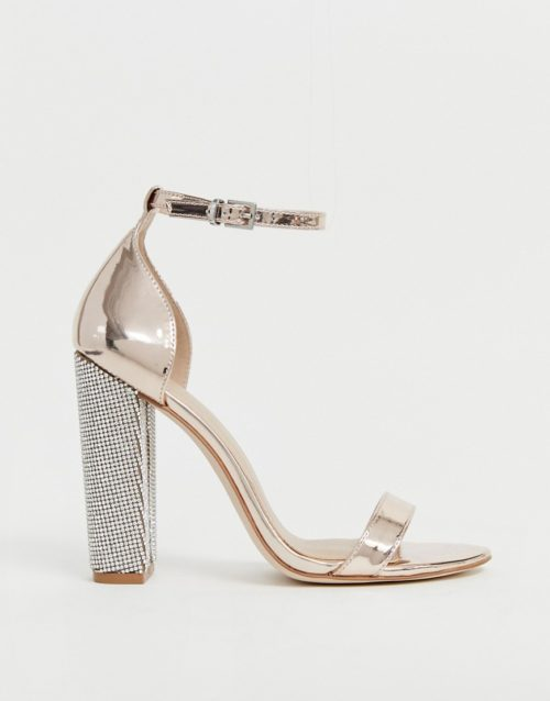 ASOS DESIGN Highball barely there block heeled sandals with diamante heel
