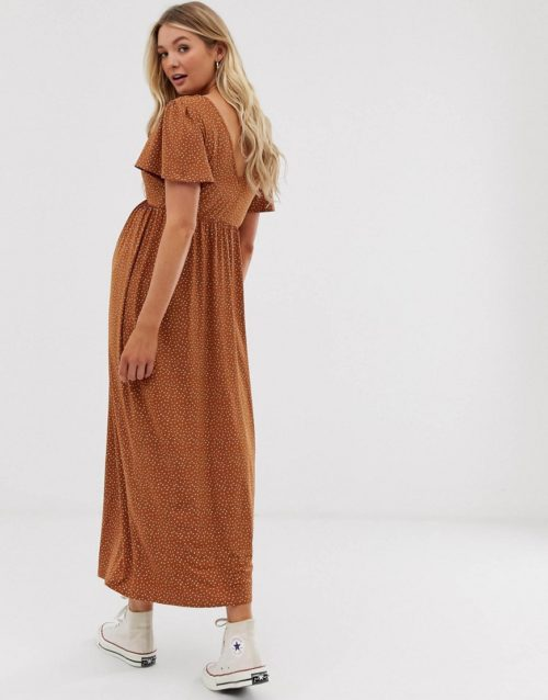 ASOS DESIGN Maternity jersey crepe maxi tea dress with self covered buttons in brown spot