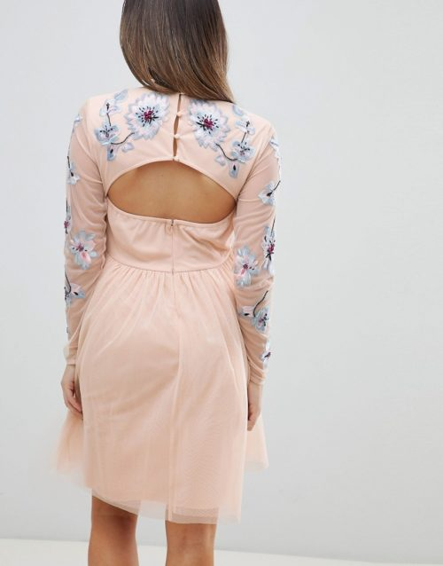 ASOS DESIGN Maternity pastel embroidered tulle mini dress