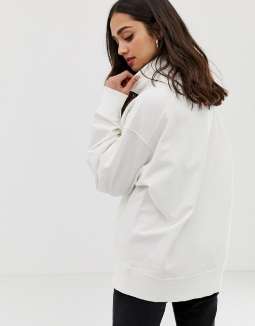 ASOS DESIGN cosy high neck sweatshirt in winter white