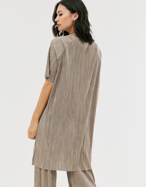 Another Reason relaxed t-shirt in plisse co-ord