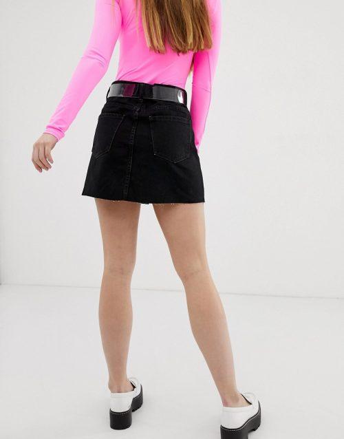 Bershka 5 pocket denim skirt in black
