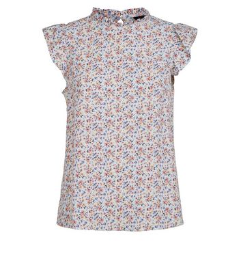 Blue Floral Frill Trim Sleeveless Blouse New Look