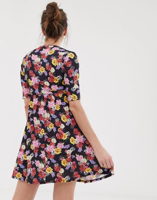 Bluebelle Maternity wrap over skater dress in floral print