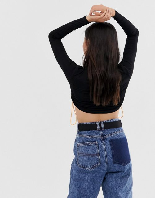 COLLUSION long sleeve crop top with toggle ruched channel
