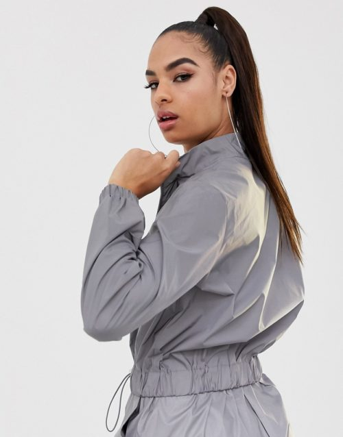 Daisy Street reflective tracksuit top co-ord