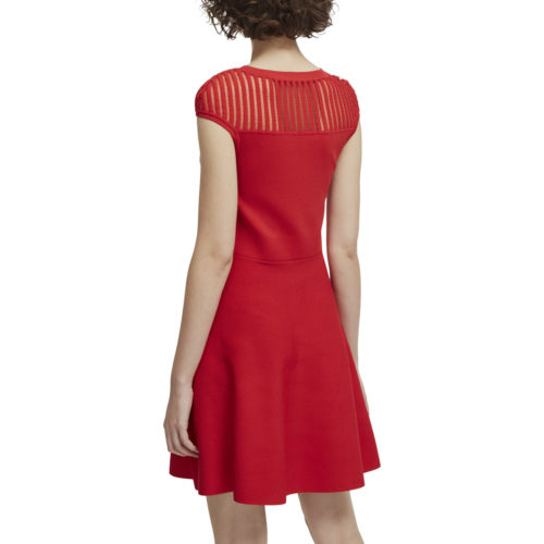 French Connection Flared dress Round neck Short sleeves women's Dress in Red
