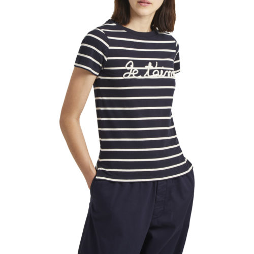 French Connection Short-sleeved striped t-shirt women's T shirt in Blue