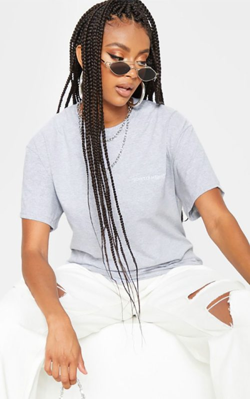 Grey Be Yourself Embroidered Oversized T Shirt, Grey
