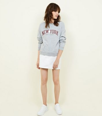 Grey Marl New York Slogan Sweatshirt New Look