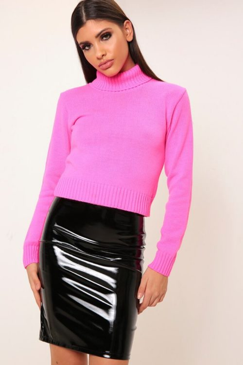 Hot Pink Cropped Roll Neck Knitted Jumper - S/M / PINK