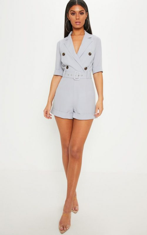 Ice Grey Brushed Satin Tortoiseshell Button Playsuit, Ice Grey