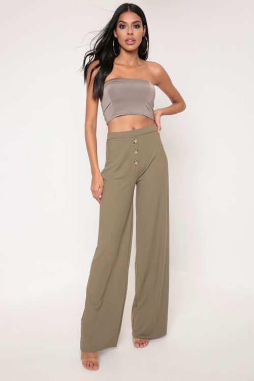 Khaki Button Front Wide Leg Ribbed Trousers - 6 / GREEN