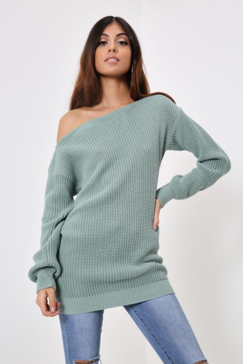 Light Green Slash Neck Longline Jumper - S/M / GREEN