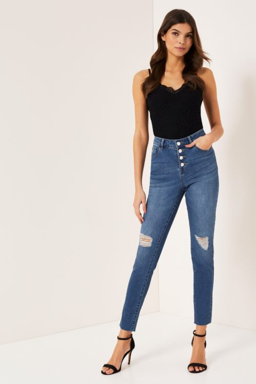 Lipsy Kate Mid Rise Skinny Button Front Short Length Jeans - 6 Petite - Blue