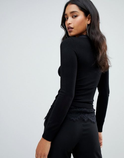 Lipsy lace detail jumper with collar detail in black
