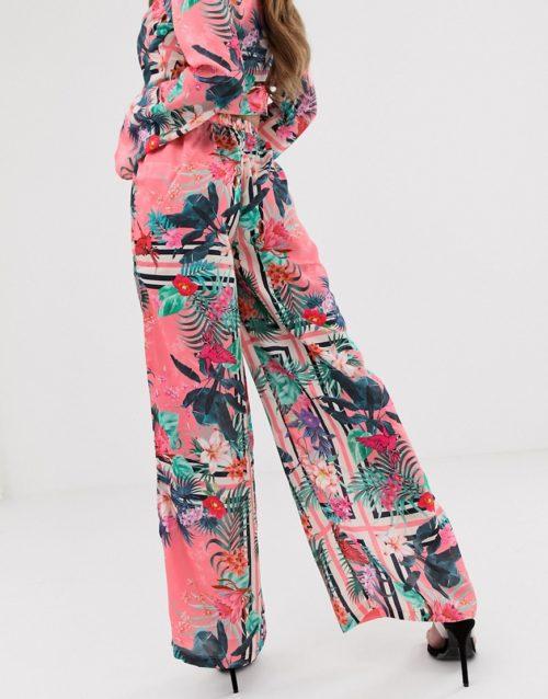 Lipsy wide leg trousers in tropical print