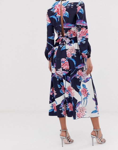 Little Mistress all over floral printed maxi skirt co-ord in multi