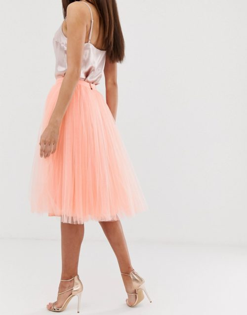 Little Mistress tulle midi prom skirt in coral