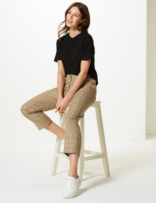 M&S Collection Evie Straight Checked 7/8th Trousers
