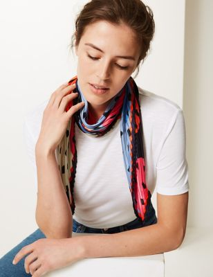 M&S Collection Pleated Polka Dot Scarf
