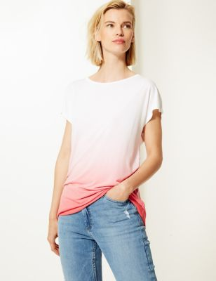 M&S Collection Relaxed Fit Longline Dip Dye T-Shirt