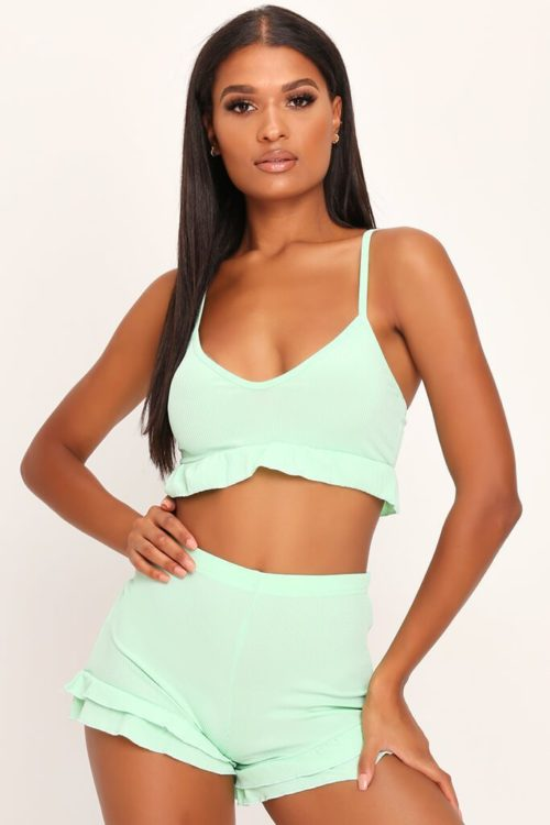 Mint Sage Bralet And Double Frill Shorts Co-Ord Set - 6 / GREEN