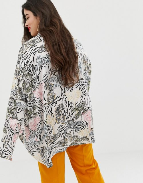 Neon Rose Plus swing blouse in jungle print satin co-ord