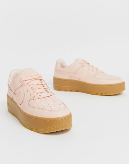 Nike Pale Pink Gum Sole Air Force 1 Sage Low Trainers