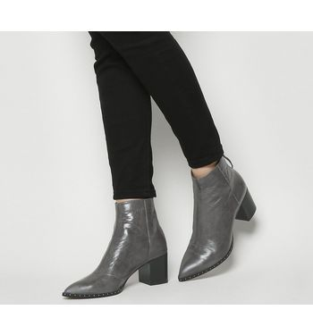 Office Aromatic- Pointed Block Heel Boot GREY LEATHER