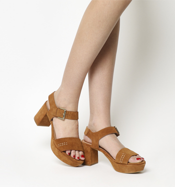 Office Quick Platform 2 Part Sandals TAN SUEDE