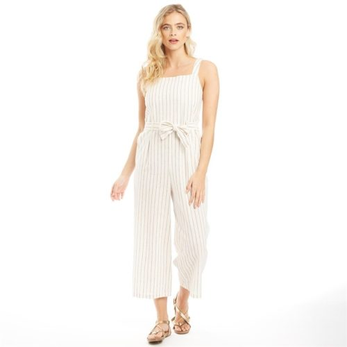 Only Womens Canyon Strappy Cropped Jumpsuit Cloud Dancer/Stripes Arab
