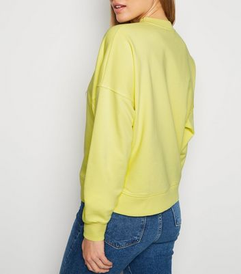 Pale Yellow Sweet Like Honey Slogan Sweatshirt New Look