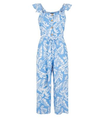 Petite Blue Tropical Button Front Jumpsuit New Look