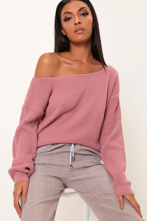 Pink Slash Neck Knitted Jumper - S/M / PINK