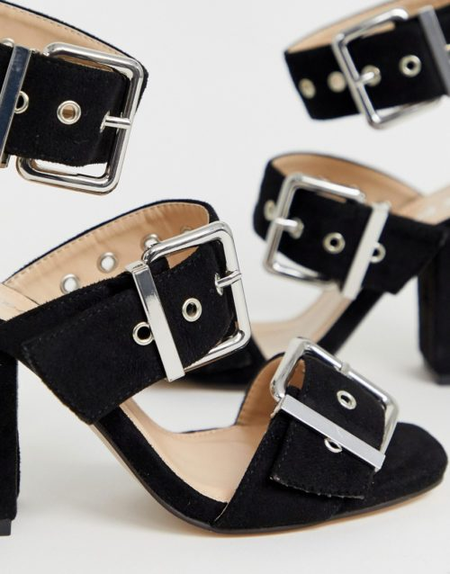 Public Desire Gimme black buckle detail heeled sandals