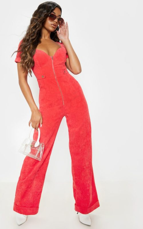Red Sweetheart Neckline Wide Leg Cord Jumpsuit, Red