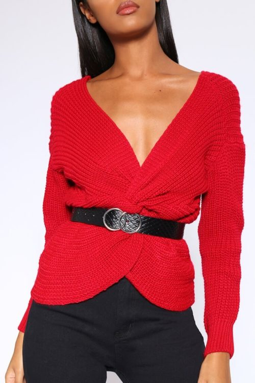 Red Twist Back Jumper - XS / RED