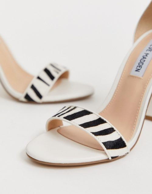 Steve Madden Carrson white leather heeled sandals with zebra detail