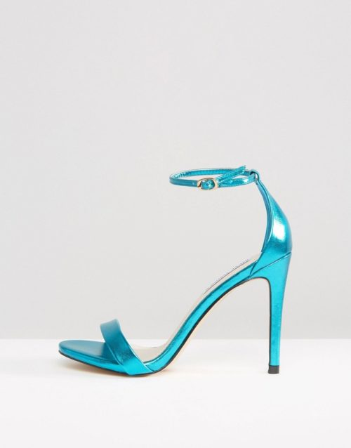 Steve Madden Stecy Metallic Blue Barely There Heeled Sandals