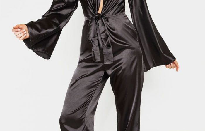 Tall Black Ruched Waist Satin Jumpsuit, Black