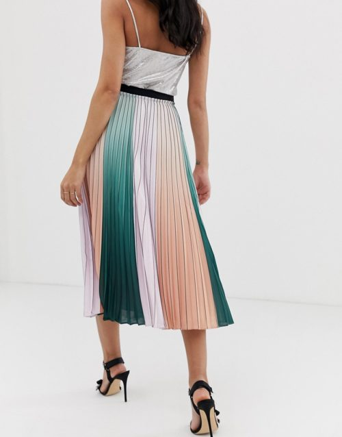 Ted Baker Selmma midi skirt in colourblock pleat