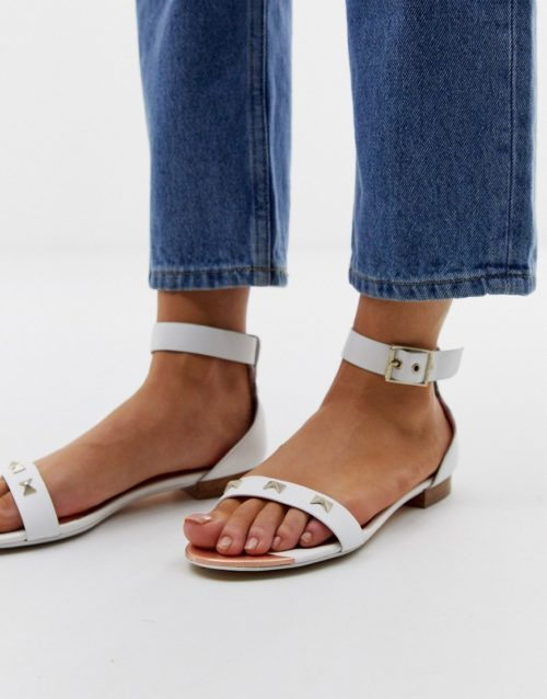 Ted Baker white leather bow detail flat sandals