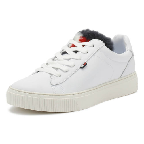 Tommy Hilfiger Womens White Funny Fur Star Trainers women's Shoes (Trainers) in multicolour